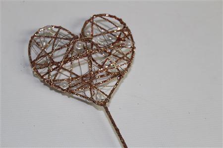 Bridal Wand Heart L8 Ol30cm Rose Gold thumbnail