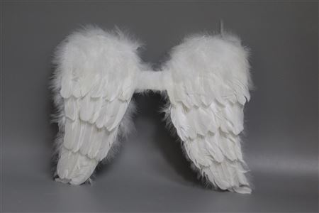 Angel White Feathered Wings D32cm thumbnail