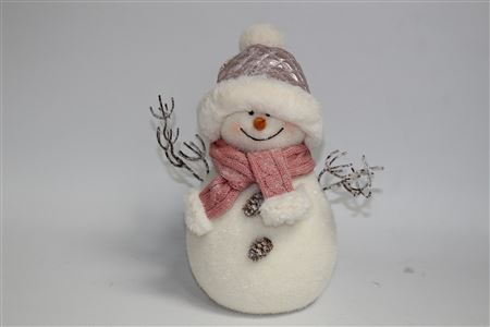 Flocked Snowman With Twig Arms Frosted H35cm thumbnail