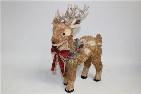 Grass Reindeer Standing With Scarf H46cm Natural thumbnail